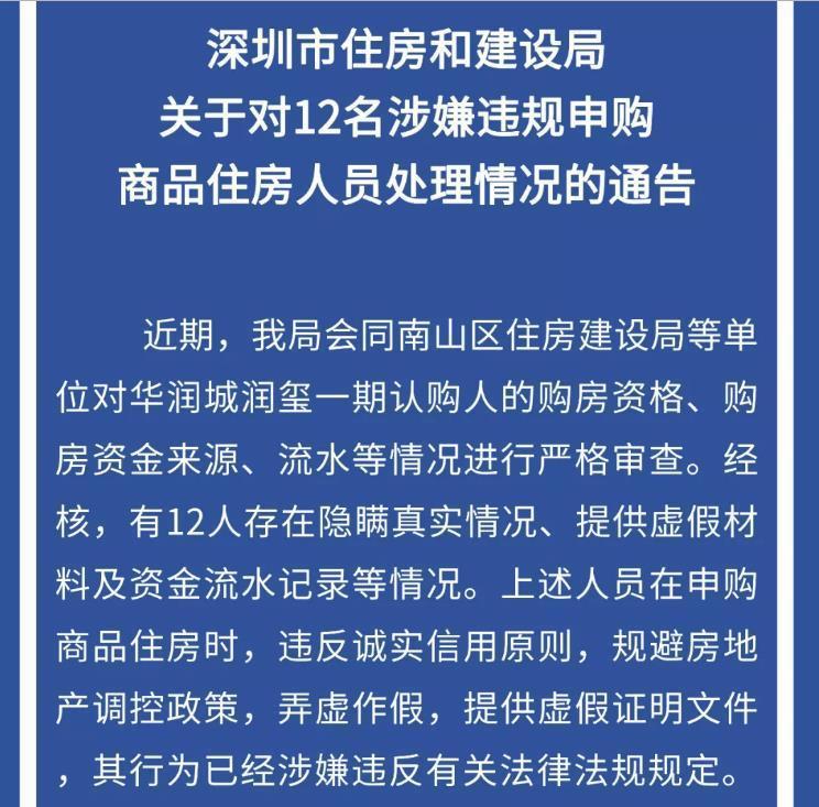 弄虚作假申购商品房 深圳12个人被查
