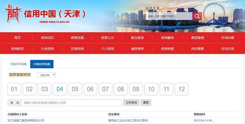 浙江建工因未按工程設計圖紙施工遭罰約250萬元